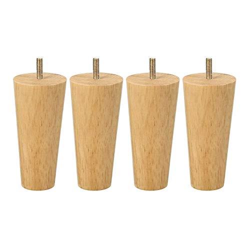Patas de madera para muebles, patas de sofá de altura, patas de gabinete de cono en ángulo con placa de montaje y tornillos y alfombrillas antideslizantes para mesas de café(Size:10cm/3.94in)