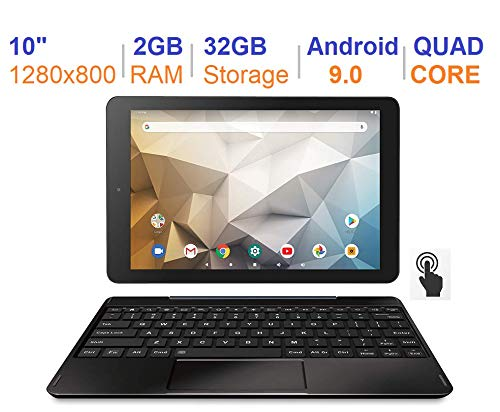 "RCA Newest Best Performance Tablet Quad-Core 2GB RAM 32GB Storage IPS HD Touchscreen WiFi Bluetooth with Detachable Keyboard Android 9 Pie (10"", Charcoal)"