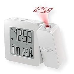 Oregon Scientific RM338PA_W Model RM338 PROJI Projection Atomic Alarm Clock, Indoor Temperature, Calendar Alarm, Snooze Functions, Dual Alarm, White