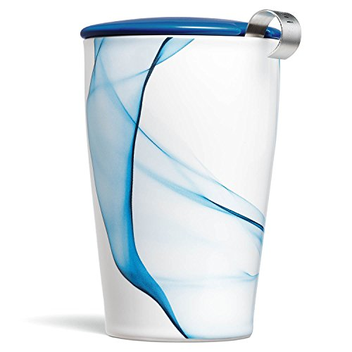 Tee Forte Kati Tasse Keramik Tee Infuser Tasse mit Infuser Korb und Deckel zum Einweichen, Blau