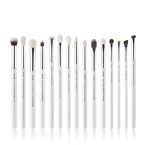 Jessup Small Eye Makeup Brush Set Professional 15pcs White/Silver Premium Natural-synthetic Eye Shadow Blending Concealer Eye & Brow Liner Brushes, T237