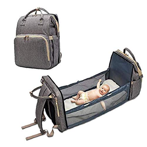 hong Wu Tragbare Windel-multifunktionsfalten Krippe Beutel, Multifunktions Baby-Rucksack Faltbarer Kinderbett Leichtes Mama-Beutel Baby Gewickelt Taschen- Einfach Folding