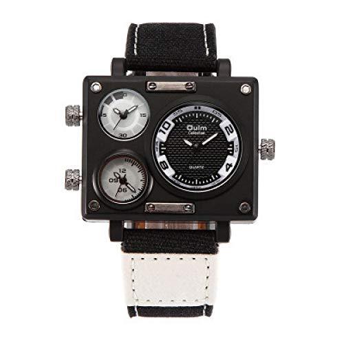 xiaoxioaguo Reloj de cuarzo casual para hombre, correa de lona, multizona horaria, cuadrado para hombre, reloj Steampunk rosa