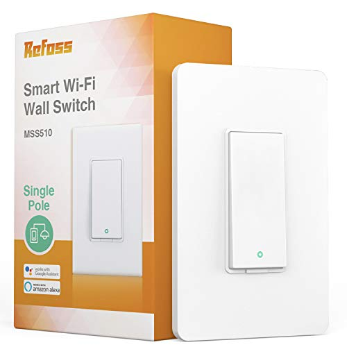Refoss Smart Wi-Fi Light Switch Wall Switch, Compatible with Alexa and Google Assistant, Remote Control, Timer, Single-Pole, No Hub Required - 1 PACK