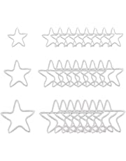 UNICRAFTALE 3 Sizes 36pcs Hollow Star Charm 12/15/19mm Stainless Steel Linking Charm Frame Metal Charms Stainless Steel Color Pendant Connectors Links for Jewelry Making