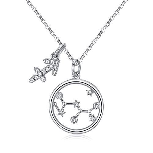 Qings Astrologie Stern Zirkonia Halskette 925 Sterling Silber Sternbild Halskette Schütze Anhänger Halskette Frau Liebhaber Geburtstagsgeschenk Ideen