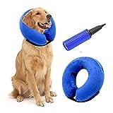 Hengu Collar Inflable de recuperación de Mascotas, Cuello Blando Ajustable para Gatos o Perros, Evita Que la Mascota Lame Tocando heridas y Promueva la recuperación (con un inflador)