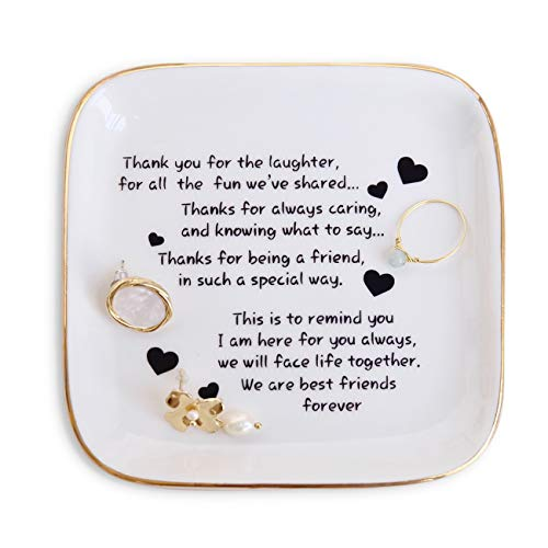 Friend Gift for Women,Ring Dish with Friendship Quotes Trinket Dish for Women Birthday Retirement Unique Gift