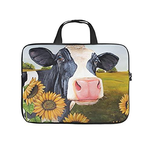 Facbalaign Funda para portátil con diseño de vaca y girasoles, de alta calidad, con asa.