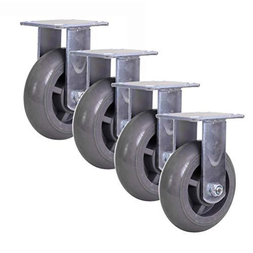 Ruedas giratorias 4/5/6 pulg. (100/125/150 mm) - Juego de 4 Juegos de Ruedas de Seguridad de Doble Bloqueo, Ruedas de Transporte de PVC Gris para Trabajo Pesado - Carga 800 kg, Soporte grues
