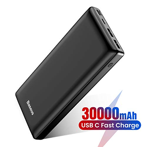 Baseus Batería Externa 30000mAh,Power Bank Bateria Portatil Movil USB C Carga rapida para iPhone 11 Pro MAX, iPad, Mac, Samsung, Huawei, Xiaomi, Nintendo Switch Nergo
