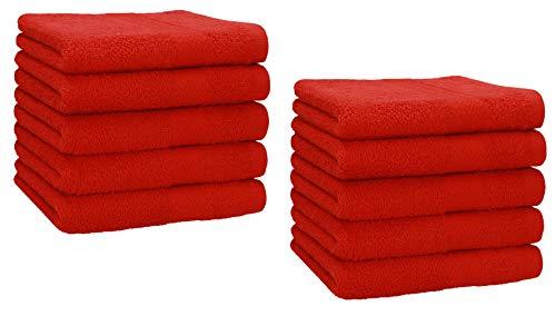 Betz Lot de 10 Serviettes débarbouillettes lavettes Taille 30x30 cm en 100% Coton Premium Couleur Rouge