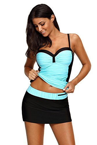 REKITA Womens Swimsuit Halter Tankini Top and Skort Bottom Set Bathing Suits, Green Black, X-Large