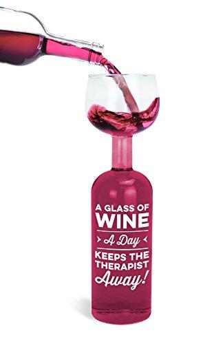 Verre de vin et bouteille en verre 2 en 1 Inscription « A Glass of Wine a Day Keeps the Therapist Away »