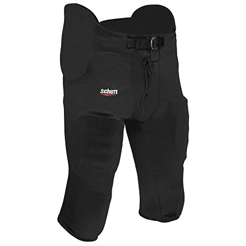 ADAMS USA Varsity Pro-Sheen Gameday Football Pant with Integrated Pads, Black, 2X-Large