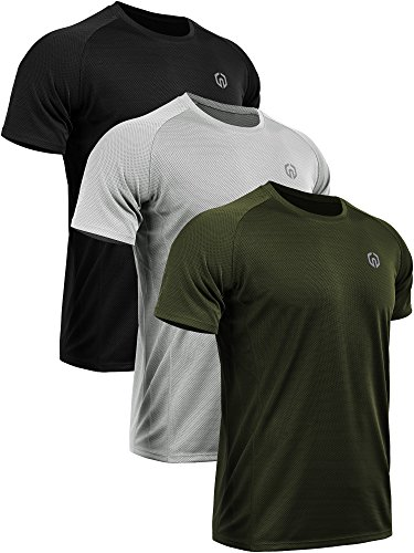 Neleus Men's 3 Pack Mesh Athletic Running T Shirt,5033,Black,Grey,Olive Green,US L,EU XL