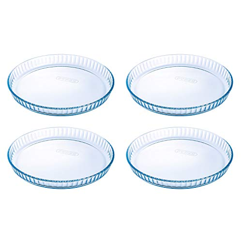 Pyrex Prep & Bake Glass Fluted Flan Tart Dishes - Set of 4 - High Heat Resistance Borosilicate Glass - 27.8 x 3.5 cm, 1.4 litres