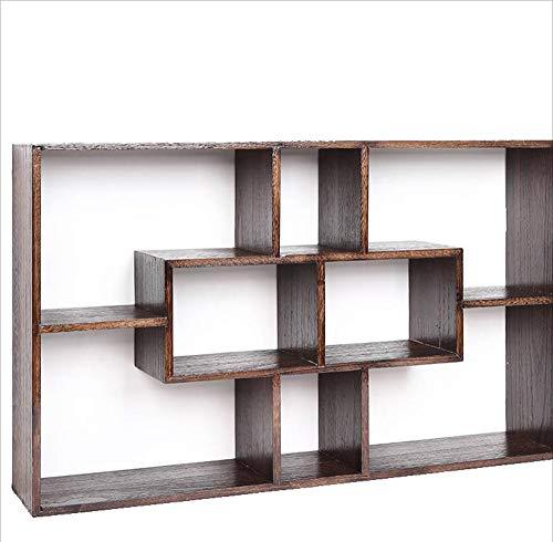 MYMAO 0Meubelen muur plank opknoping boekenplank achtergrond wanddecoratie frame vorm muur opknoping massief hout rooster theepot display stand