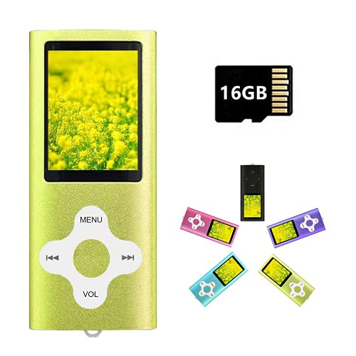 MP3 Player MP4 Player with a 16GB Micro SD Card, Runying Portable Music Player Support up to 64GB, Green