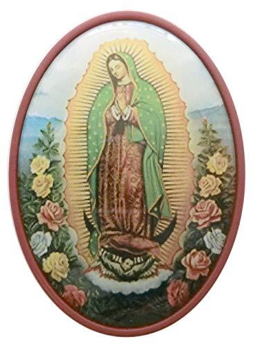 GTBITALY - Portavelas de plástico Ovalado con Imagen de la Virgen de Guadalupe, Color Rojo Oscuro