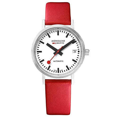 Mondaine SBB Elegant Wrist Watch for Men (A128.30008.16SBC) Swiss Made, Railway Design, Red Leather Strap and Silver Case