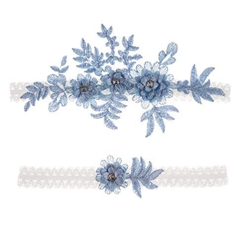 Amosfun 2 stücke Hochzeit Strumpfband Blume Spitze Strass elastische brautstrumpfbänder für Brautjungfer Hochzeit zugunsten Dekoration blau