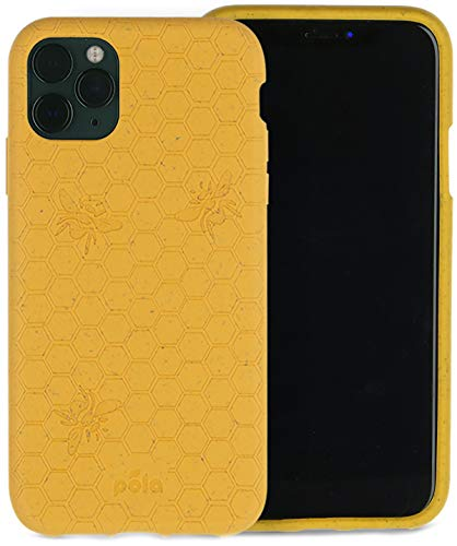 Pela: Phone Case for iPhone 11 Pro Max - 100% Compostable and Biodegradable - Eco-Friendly - Made from Plants (11 Pro Max Honey Bee)