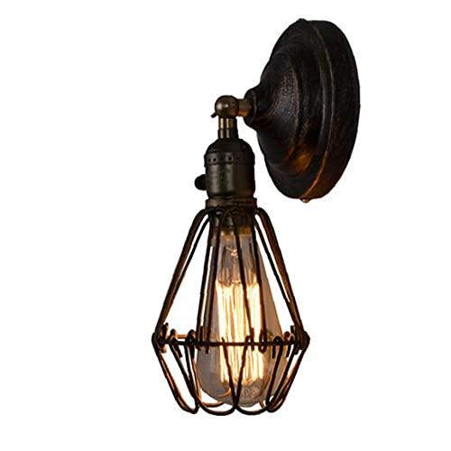 Lámpara de pared de alambre de metal jaula de la lámpara de la vendimia del aplique de iluminación de la lámpara de pared ajustable industrial para la decoración casera Cabecera Baño Dormitorio