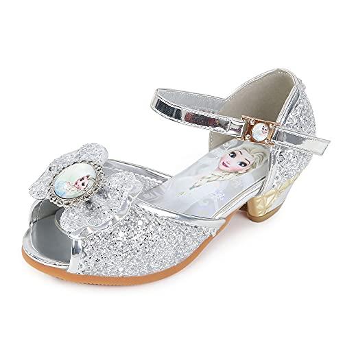 Eleasica Zapatos de Fiesta con Punta Abierta, cómodas Zapatillas de tacón bajo, Calzado Estilo D'orsay de Lentejuelas y Disfraz de Princesa a Juego, Mini tacón para Baile, Ceremonia, Carnaval, Boda