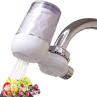 Tysonir Water Faucet Filtration System,Faucet Filter with Activated Carbon, Easy Installation,Tap Water Filter, High Water Flow Tap Water Purifier for Home Kitchen Bathroom