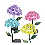 Four Seasons Courtyard 05707 Metal Solar Hydrangea Garden Stake, Assorted, 21'
