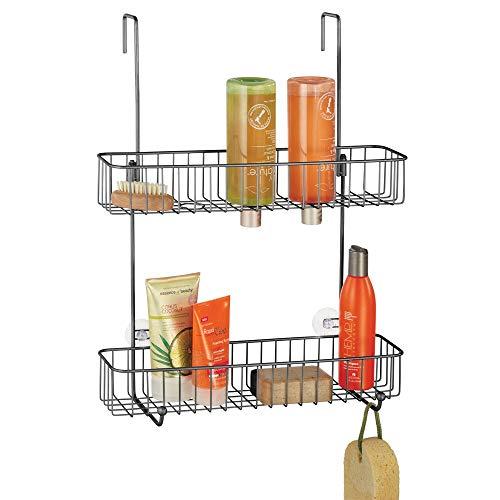 mDesign Duschablage aus rostbeständigem Metall – einfache Montage an der Duschtür – Duschregal zum Hängen mit Zwei Ebenen – Duschzubehör ohne Bohren – dunkelgrau