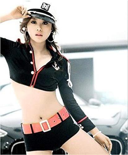 MEN.CLOTHING-LEE Corsés para Mujer Conjuntos de lencería para Mujer Lencería Sexy/Mujer policía Sexy/Líder DS/Pole Dance 2040-Black_One Size