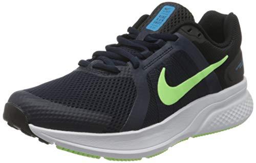 Nike Run Swift 2, Running Shoe Hombre, Obsidian/Lime Glow-Black-White-Laser Blue, 42 EU