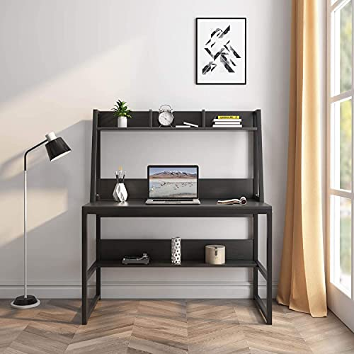 Computer Desk with Hutch and Shelf -47.2 inch Writing Study Table with Bookshelf Study Desk Modern Office Desk Stable Corner Desk for Small Space Steel Frame & Wood Desk Home Office Workstation-Black