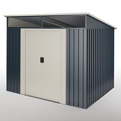 wasabi Stark Cobertizo Jardin, Caseta metálica Gris Antracita 4,6 m2 194x238x203cm Garantía 10 años