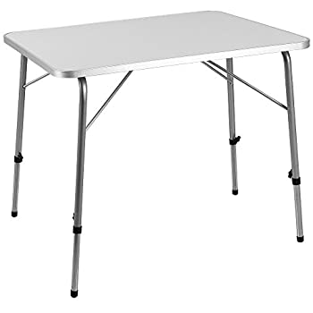 Deuba   Table de Camping ? 80x60cm ? réglable en Hauteur ? Aluminium - Blanc   Table de Jardin, terrasse