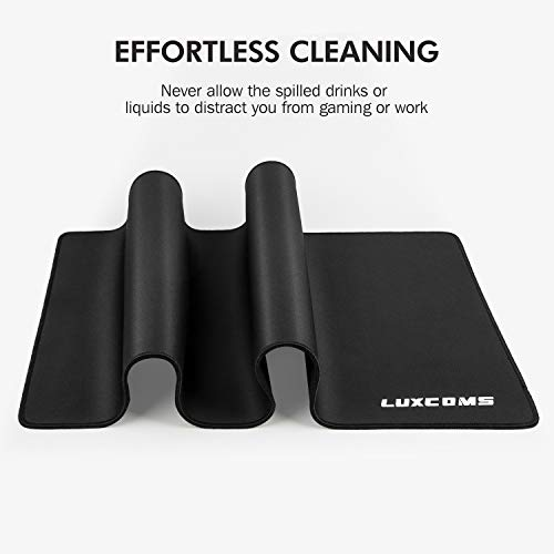 LUXCOMS Extended Gaming Mouse Pad (31.5×15.75×0.12 Inch) Computer Keyboard Mousepad Mouse Mat, Water-Resistant, Non-Slip Base, Durable Stitched Edges,Mouse Mat for Gamer, Office & Home, Black (LST080) Photo #2