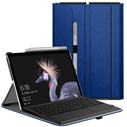 MoKo Case Compatibale with Microsoft Surface Pro 7, Ultra Lightweight Portfolio Business Cover with Pen Holder Fit Surface Pro LTE/Pro 2017/Pro 7/6/5/4, Compatible with Type Cover Keyboard - Indigo