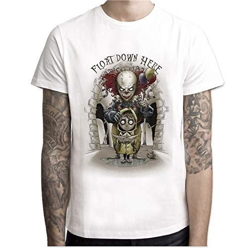Men's Stephen King Printed Halloween Pennywise Custom Clown Male T-Shirt Pattern Printing Size S-4XL