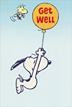 Snoopy Hanging from Balloon - Sunrise Greetings Peanuts Get Well Card