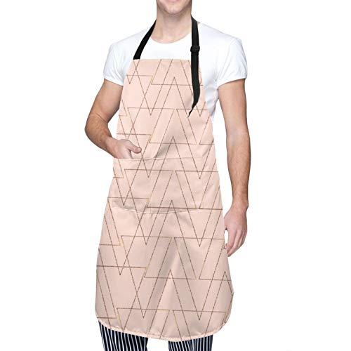 DAHALLAR Ajustable Colgante de Cuello Personalizado Delantal Impermeable,Triángulos geométricos de oro rosa de moda BFertile,Babero de Cocina Vestido para Hombres Mujeres con 2 Bolsillos Centrales
