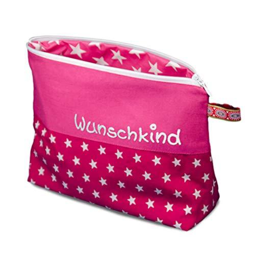 Waschtasche Sterne mit Namen, Kosmetiktäschchen personalisiert, Waschbeutel, Kinderbeutel, Reisebeutel, Kosmetiktasche Kinder (1012_70 pink)