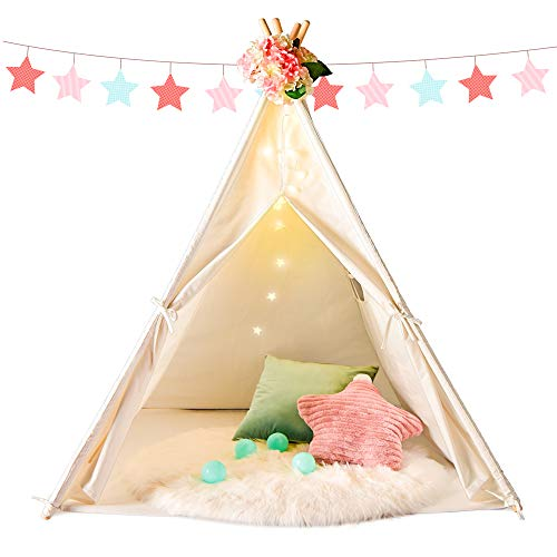 Senodeer Teepee Tent for Kids Play Tent for Girls/Boys with Ferry Lights + Floor...