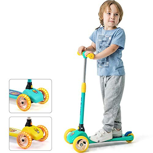 Luddy Kick Scooter for Kids and Toddler - 3-Wheel Folding Scooter 3 Adjustable Height, Lean to Steer for Children from 2 to 6 Years Old- Easy Assembly (Blue) … …