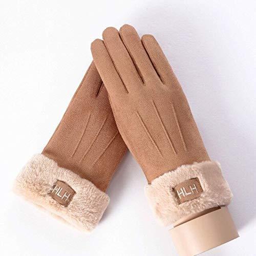 IAMZHL Guanti touch screen da donna Guanti invernali a doppio strato pelosi caldi guanti alla moda all'aperto-081B-HLH-Khaki-One Size