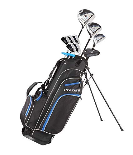Precise M3 Men's Complete Golf Clubs Package Set Includes Driver, Fairway, Hybrid, 6-PW, Putter, Stand Bag, 3 H/C's - Right Handed - Regular or Tall Size (Blue - Tall Size +1', Right Handed)