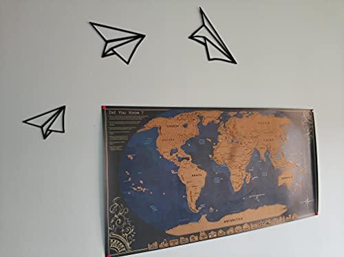 Aviones Origami- Decoración Pared - Walldecor - Negro - Pack de 3 - láminas Decorativas