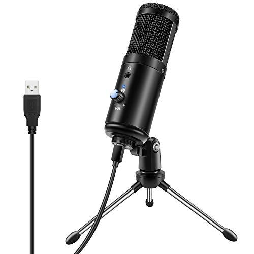 YOTTO USB Mikrofon Kit Computer Kondensatormikrofon Cardioid Monitor Microphone mit Mikrofonständer für Musik Video Aufnehmen Podcast Gaming