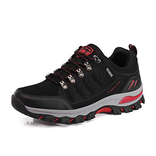 CXQWAN Hommes Plus Velours Chaussures De Marche en Plein Air, Bottes d'escalade Anti-Slip Escarpins À Lacets pour Randonner Voyager Randonnée Randonnée Camping,Noir,45